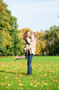 Young happy loving couple having fun on a fall day Royalty Free Stock Images