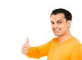 Young happy man with thumbs up sign in casuals isolated on white background Royalty Free Stock Photography