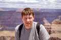 Young happy man with view of grand canyon usa nevada arizona Stock Photos