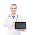 Young and happy medical worker holding an ipad professional woman doctor with isolated on white Stock Photos