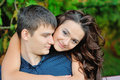 Young happy smiling attractive couple together outdoors Royalty Free Stock Photo