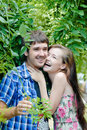 Young happy smiling couple embracing outdoors Royalty Free Stock Images