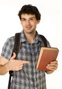 Young happy student carrying bag and books isolated Stock Photo
