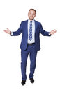 Young happy succesful businessman isolated on white Royalty Free Stock Photo