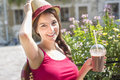 Young happy teenage girl in urban place a Royalty Free Stock Photos