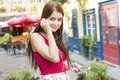 Young happy teenage girl in urban place a Stock Photos