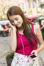Young happy teenage girl in urban place a Stock Photo