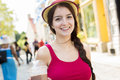 Young happy teenage girl in urban place a Stock Images