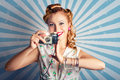 Young Happy Vintage Woman With Old Film Camera Royalty Free Stock Images