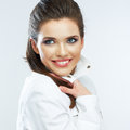 Young happy woman. Close up face. Isolated white background. Royalty Free Stock Photo