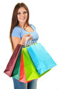 Young happy woman with colorful paper shopping bags isolated on white Stock Image