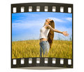 Young happy woman in field Royalty Free Stock Photo