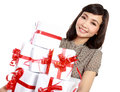 Young happy woman with gift box isolated on white background Royalty Free Stock Photos