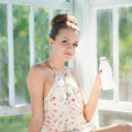 Young happy woman having morning drink Royalty Free Stock Photo