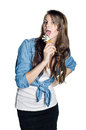 Young happy woman with ice-cream Stock Photos