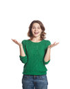 Young and happy woman isolated surprised on white background Royalty Free Stock Photos