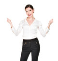 Young happy woman raised hands up white shirt isolated white background Royalty Free Stock Photo