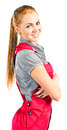Young happy woman in red overalls Stock Images