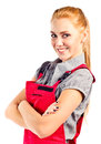 Young happy woman in red overalls Royalty Free Stock Photo