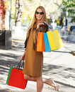 Young happy woman with shopping bags Royalty Free Stock Photography