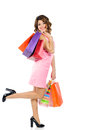 Young happy woman shopping bags isolated white background Royalty Free Stock Photo