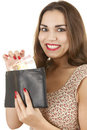 Young happy woman taking euro from wallet Royalty Free Stock Image