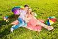 image photo : Young healthy beautiful pregnant woman with her husband and rain