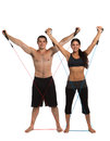Young Healthy Couple Workout Together Isolated Royalty Free Stock Photo