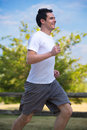 Young Healthy Man Jogging in the Woods Royalty Free Stock Photo