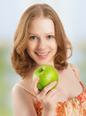 Healthy Woman Eating Fruit, Gr...