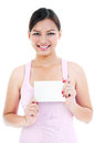Young Healthy Woman Holding Blank Card Stock Images