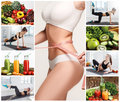 Young healthy woman with vegetables. Collage Royalty Free Stock Photo
