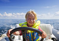 Young helmsman Stock Photos