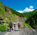 Young hikers trekking in svaneti georgia Royalty Free Stock Photos