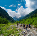 Young hikers trekking in svaneti georgia Stock Photos