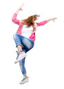 Young hip hop dancer dancing isolated on white background. Royalty Free Stock Photo