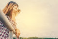 Young hipster beautiful women photography standing shooting retr Royalty Free Stock Photo