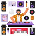 Young hipster DJ with beard and equipment mixing music on the turntables. DJ playing and mixing music. DJ in headphones mixing