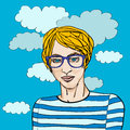 Young hipster youg portrait with glasses over a blue background with clouds hand drawn pot art illustraton Royalty Free Stock Image