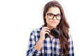 Young hispanic female deejay portrait of a gorgeous wearing headphones and glasses Royalty Free Stock Photos