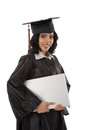 Young Hispanic Graduate Student Holding Laptop Royalty Free Stock Photos