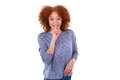 Young hispanic teenage girl making silence gesture isolated on w white background Stock Photo