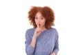 Young hispanic teenage girl making silence gesture isolated on w white background Stock Photos