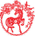 Young horse graphic design with plum blossom frame in paper cut style Royalty Free Stock Image