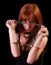 Young hot woman with handcuffs and chain Royalty Free Stock Images