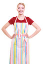 Young housewife or barista wearing kitchen apron isolated small business owner entrepreneur shop assistant studio picture on white Stock Images