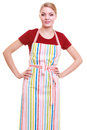 Young housewife or barista wearing kitchen apron isolated small business owner entrepreneur shop assistant studio picture on white Stock Image