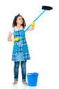 Young housewife with blue bucket and mop isolated on white background Stock Photography