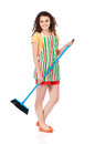 Young housewife with blue mop isolated on white background Royalty Free Stock Image