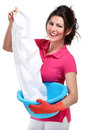 Young housewife cleaning Stock Images